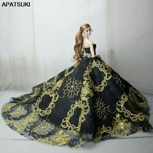 Black-Gold-Embroidery-Fashion-Wedding-Dress-for-11-5-034-Doll-Clothes-Outfits-1-6