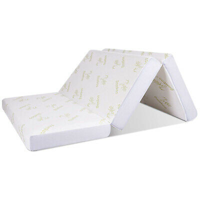 Folding Portable Mattress Bamboo Cover 6-Inch Memory Foam Guest Sofa Carry Bag