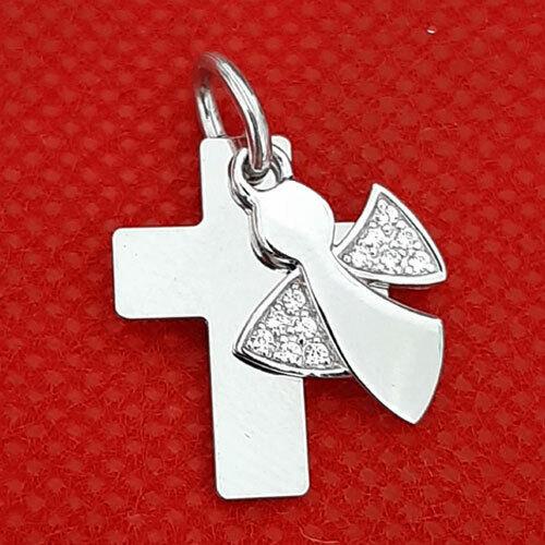 Kreuzanhänger mit Schutzengel-Silber 925 Kette und persönliche Gravur Inkl