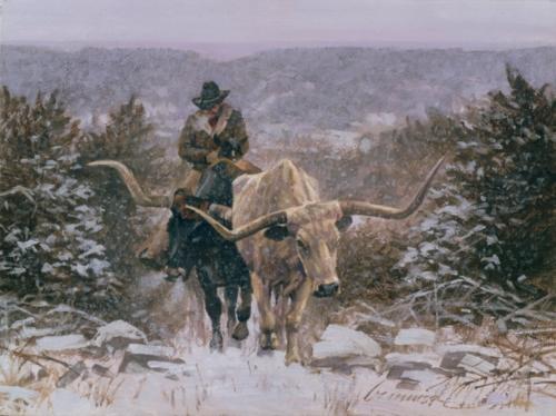Climbing Through the Cold by Ragan Gennaus Longhorn Western Print 12.25x9.5