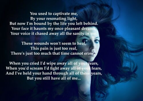 Evanescence My Immortal Rock Band Poster Music Star Blue Photo Lyrics Picture