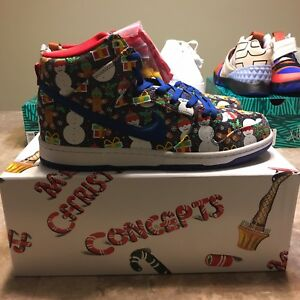 CONCEPTS Nike SB Ugly Sweater Dunk Blue Ribbon / Multi sz 10 Special Packaging