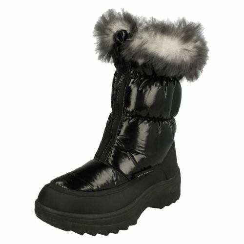 Kids REFLEX black faux fur top and lining zip up front snow boots H4071