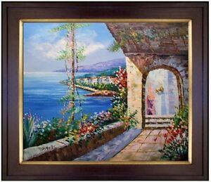 Framed-A-Mediterranean-Seascape-Quality-Hand-Painted-Oil-Painting-20x24in
