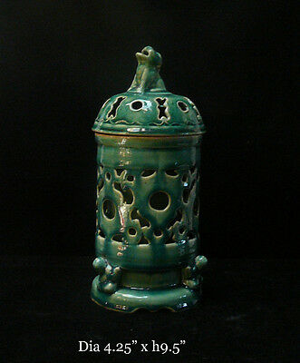 Chinese Thin Ceramic Green Glaze Motif Vase cs294C