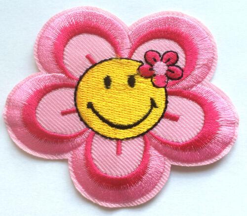 SMILE Fiore ricamate aufbügler STAFFA immagine bambini applicazione Smilie SMILE Patch