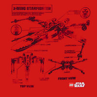 Lego Star Wars X-wing Star Fighter Blueprint T-shirt 100% Authentic S-3xl