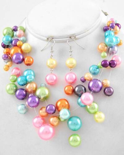 FIVE STRAND MULTI COLOR GLASS FAUX PEARL ILLUSIONARY NECKLACE EARRING