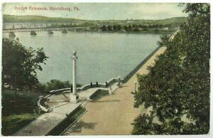 Postcard-Harrisburg-PA-Bridge-Entrance-Bird-039-s-Eye-View-Pennsylvania-1900-039-s