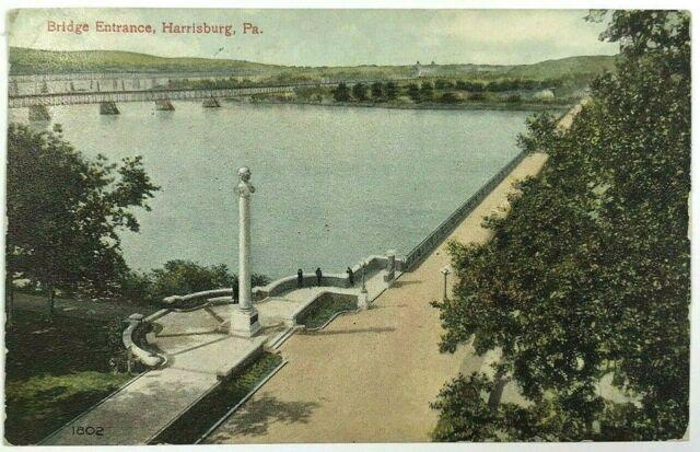 Bridge Entrance Birds Eye View Harrisburg Pennsylvania PA Vintage 1900s Postcard