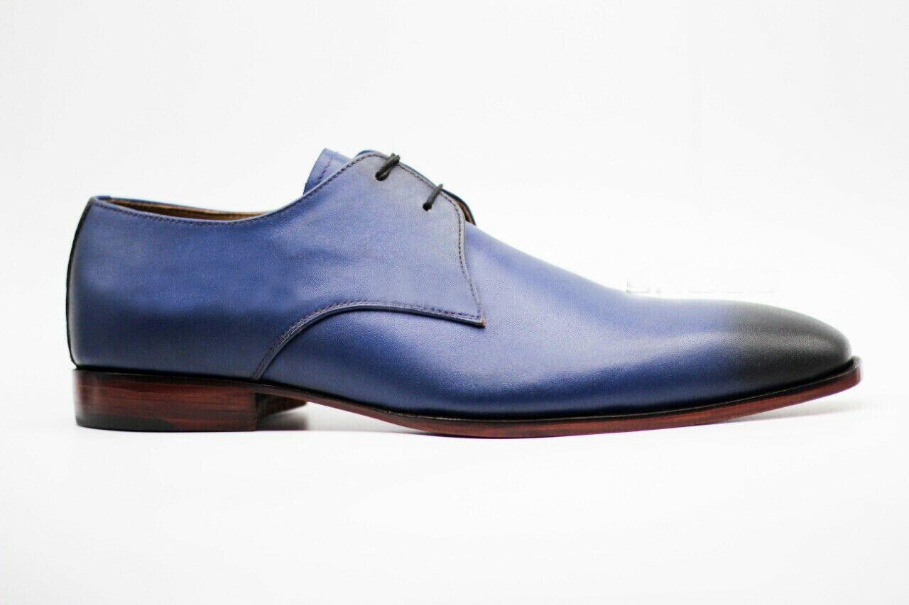 Zapatos para hombre hecho a mano Azul y Negro Cuero punta del ala con Cordones Bota Informal ropa formal