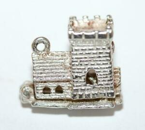 Opening-Medieval-Tower-Church-Sterling-Silver-Vintage-Bracelet-Charm-3-2g