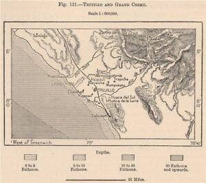 Chan Chan Peru Map.Trujillo And Grand Chimu Ruins Chan Chan Peru 1885 Old Antique Map