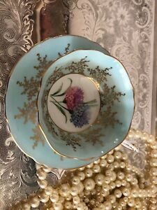 Vintage-Paragon-Tea-Cup-amp-Saucer-Baby-Blue-with-Gold-Scroll-No-chips-or-cracks