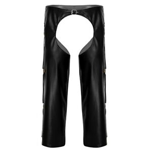 Hommes Noirs En Cuir Synthétique Classique Moto Chaps Loose Pantalon Long Fringed Pantalon