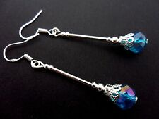 A PAIR OF LONG BLUE CRYSTAL BEAD  EARRINGS WITH 925 SOLID SILVER HOOKS. NEW..