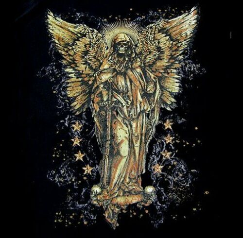 THE GRIM REAPER GOTHIC FALLEN ANGEL WINGS SWORD SKULL T-SHIRT WS209