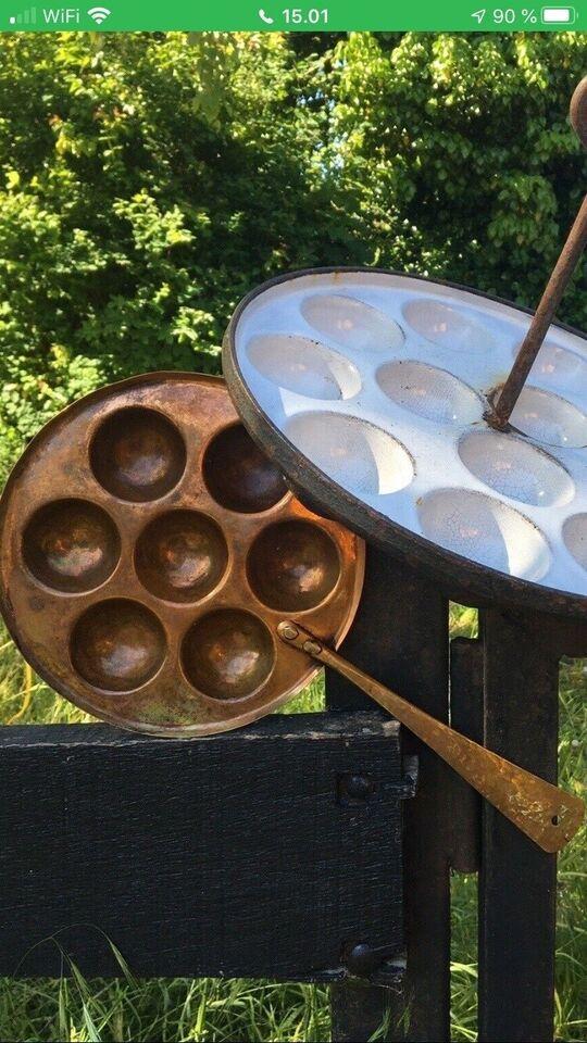 Smukke antikke kobber effekter/æbleskivepande mm,