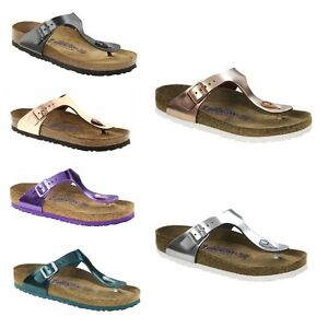 6ea84b43cb2 Image is loading Birkenstock-Gizeh-Metallic-Copper-Green-Violet-Shoes-Womens -