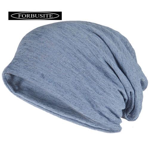 MEN THIN SUMMER SLOUCH BEANIE HAT LIGHTWEIGHT BREATHABLE SKULLCAP GREY BLUE