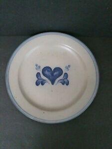 "Rowe Pottery Works Salt Glazed 10.5"" Dinner Plate Blue Heart Cambridge ~ HGD192"