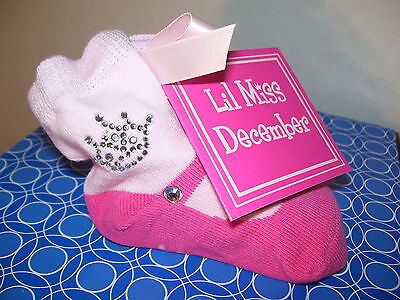 JULY MAY BOOTIE SOCKS Baby Girls Princess Mud Pie NEW Birth Month JAN