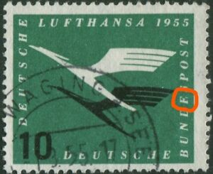 Bund-206-I-Plattenfehler-gestempelt-BRD-Michel-190-00-used