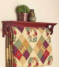DELUXE QUILT BLANKET HOLDER WALL STORAGE RACK WITH SHELF SCROLLED -WALNUT FINISH