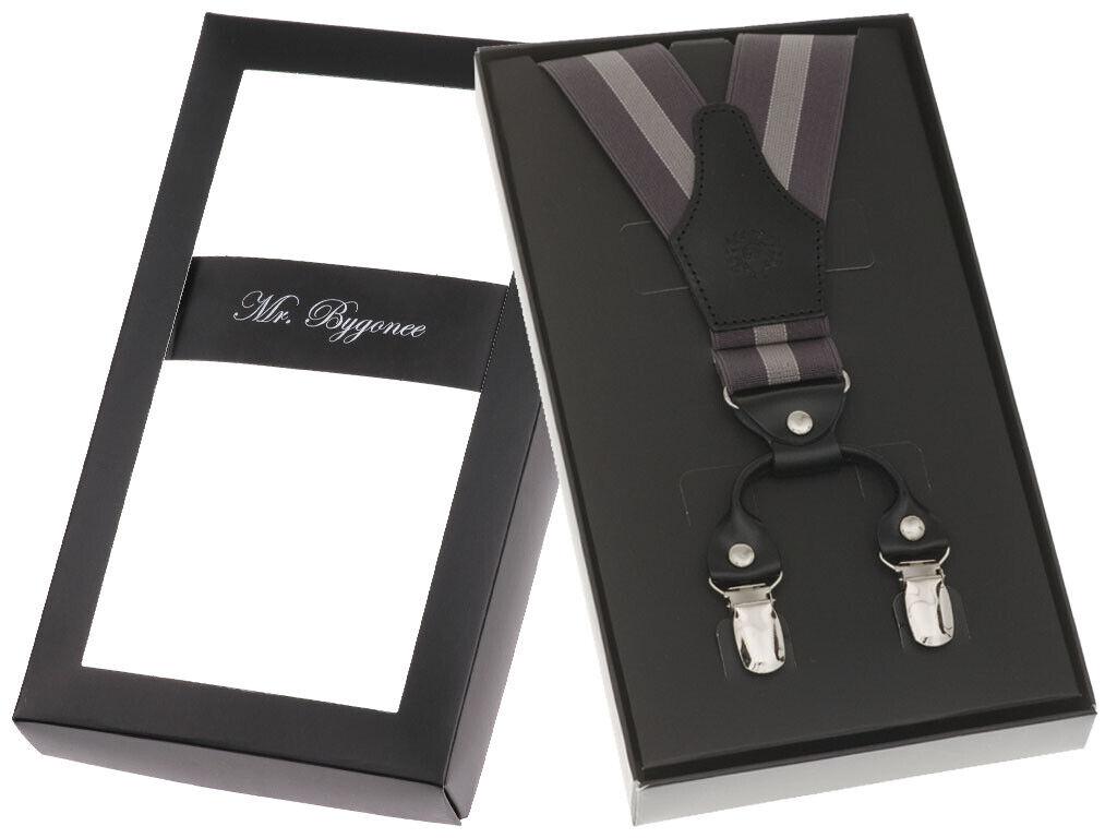 Elegant Hosenträger 4 Clips Y-Form Extra Breit Und Stark Echt Leder Grau