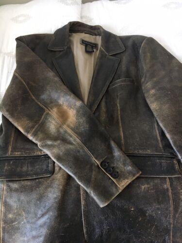 leather blazer distressed look