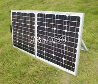 120w Mono Folding Suitcase Solar Panel Caravan Boat Camper Car 12v Battery