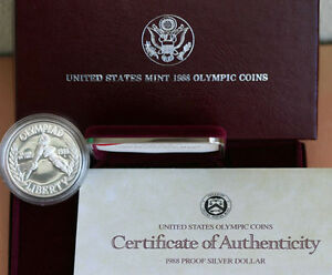 1988-PROOF-Olympic-US-Mint-Commemorative-Silver-Dollar-Coin-with-COA-Box