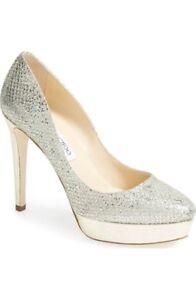0cdbcadc655a Jimmy Choo  Alex  Champagne Silver Glitter Platform Heels Size Eu ...