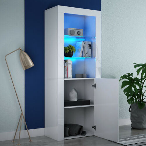 White High Gloss and Matt Display Cabinet Tall Cupboard Sideboard with LED Light
