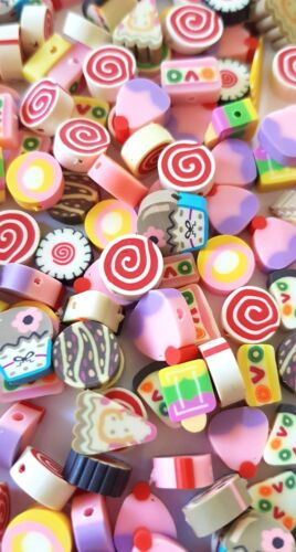 50 LOLLY//ICE CREAM BEADS-10MM FIMO CAKES//LOLLIPOP BEAD-COLOURFUL-SWEET TREATS
