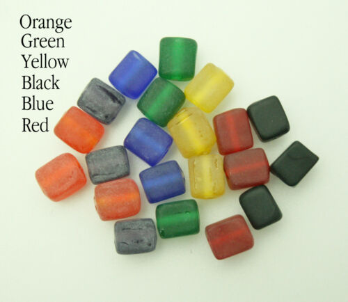 Frosted Indian Glass Cube Beads; Size 8mm 100 Yellow//Blue//Red /&more!