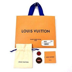 d3840f490e4 Details about NWT Louis Vuitton x Supreme City Badge Pins LV Monogram Red  Box Logo AUTHENTIC