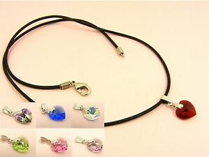 925-Sterling-Silver-BAIL-Swarovski-Crystal-HEART-Birthstone-w-Leather-NECKLACE