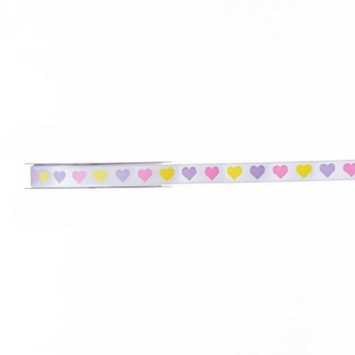 "4 Yards Pastel Hearts Valentine Ribbon 3//8/""  ~ Crafts ~ Sewing"