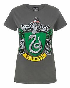 Harry-Potter-Slytherin-Women-039-s-Crew-Neck-Charcoal-T-Shirt