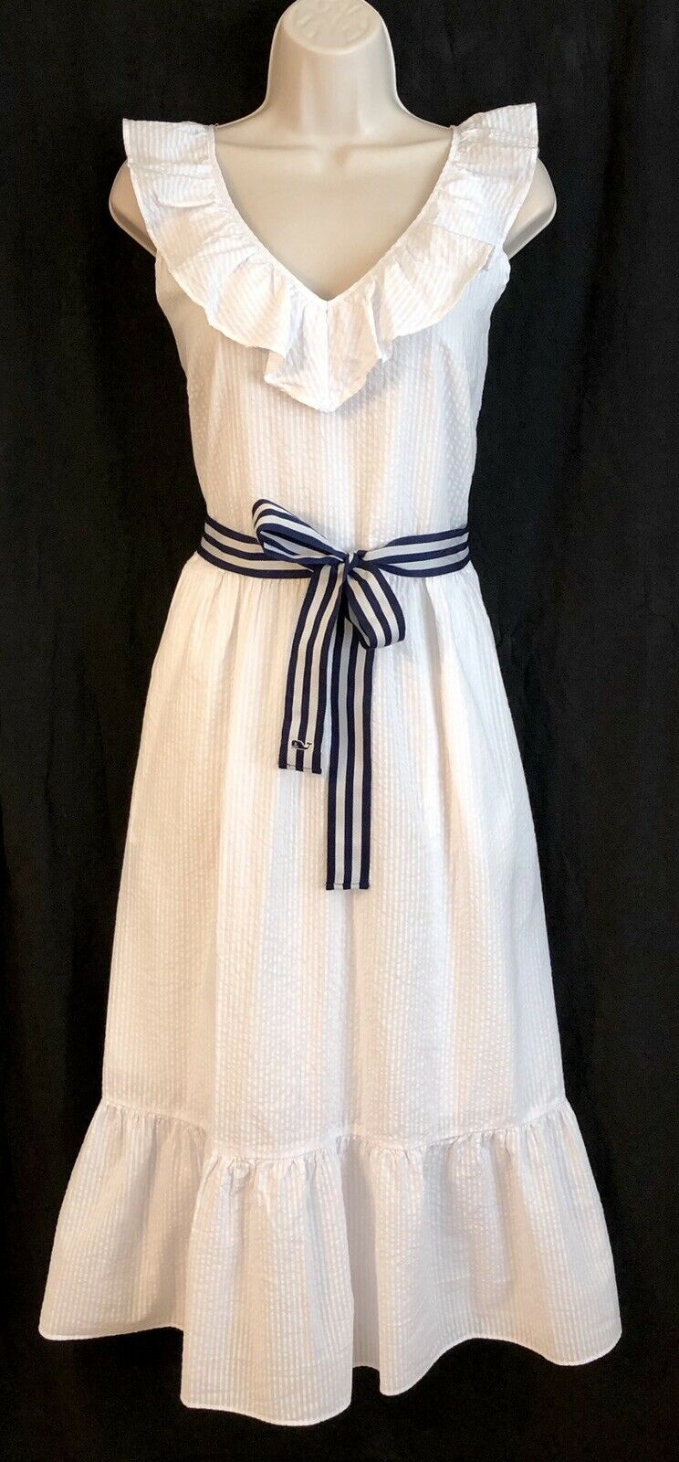 Vineyard Vines Target Dress Größe L Sleeveless Ruffle Tie Waisted V-Neck Weiß