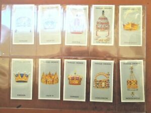 1938-FAMOUS-CROWNS-world-royal-crown-Godfrey-Phillips-Tobacco-Card-Set-25-cards
