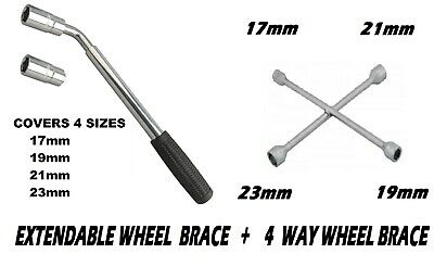 SPIDER WRENCH 4 WAY WHEEL BRACE WITH 17 19 21 AND 23MM SOCKETS