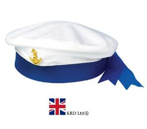 Charitable Adult Sailor Hat Navy Military Captain Ladies Mens Fancy Dress Costume Accessory