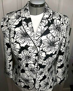 Victor-Costa-Black-White-Bling-Women-Lined-Jacket-Rhinestone-Button-14-New