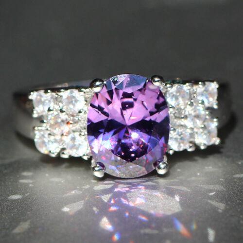 Handmade Purple Amethyst 925 Silver Filled Birthstone Engagement Wedding Ring