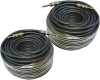 2 Pack Lot Pair 100 Ft Foot 1/4 Pro Pa Dj Amp To Speaker Cable 14 Ga Gauge