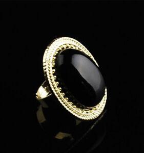 NEW-Fashion-Retro-Alloy-Big-oval-Black-stone-GOLD-Adjustable-Ring-R102
