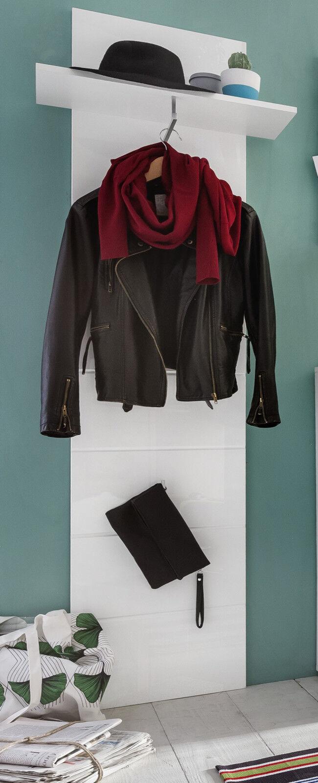 Garderobe Paneel weiß Hochglanz Garderobenpaneel mit Ablage Kleiderstange Amanda