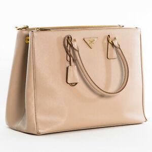 Prada-1BA786-F0770-Large-Saffiano-Lux-Women-039-s-Double-Zip-Tote-Bag-Cameo-Beige